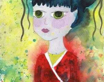 Watercolor Painting: Watercolor Illustration -- Art Print --  Girl in the Crimson Kimono -- 8x10