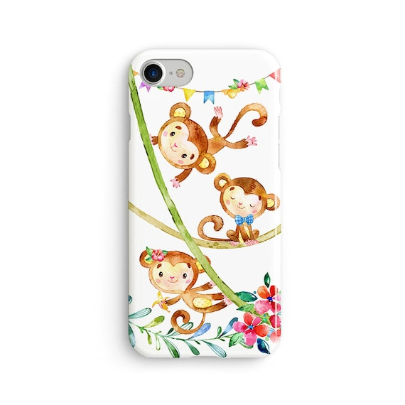 Cute monkey party iPhone X case - iPhone 8 case - Samsung Galaxy S8 case - iPhone 7 case - Tough case 1P093