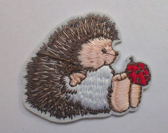 Hedgehog Iron on Applique, Cute Hedgehog with Ladybird Iron on Patch, Iron-on Application