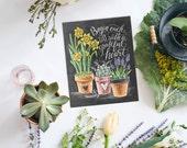 Spring  Art - Chalkboard Sign - Daffodil Art - Begin Each Day with a Grateful Heart - Motivational Print - Chalkboard Decor - Chalk Art