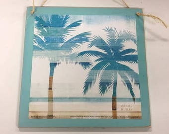 Beachscape Tropical Double Palm Tree Beach House Decor Decorations Wooden  Wood Wall Sign