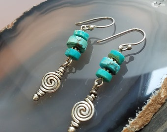 Natural Turquoise Earrings Southwest Inspired Earrings Turquoise Earrings Dangle Earrings Boho Earrings Drop Earrings