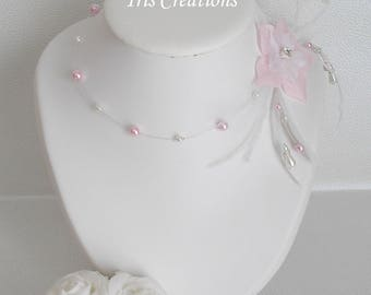 Rooster feathers Catalina silk flower bridal necklace white pearls and pink powder and rhinestones of sawarovski