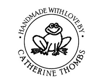 Handmade with love Frog toad Custom Rubber Stamp