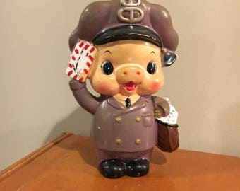 Vintage pig mail man bank