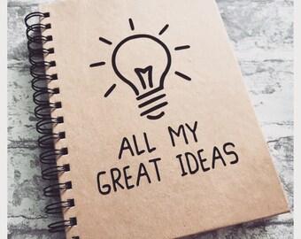 Ideas notebook - A5 Kraft Lined notebook - For great ideas