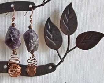 Copper & amethyst drop earrings