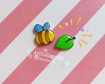 Kawaii Bee leaf Stud Earrings, Cute Mismatched Earrings, animal Earrings, Fairy Studs, Gift for Her / Daughter