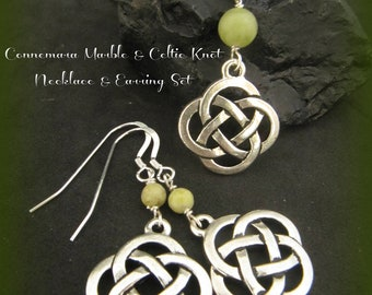 Connemara Marble & Silver Celtic Knot Necklace and Matching Earring Set