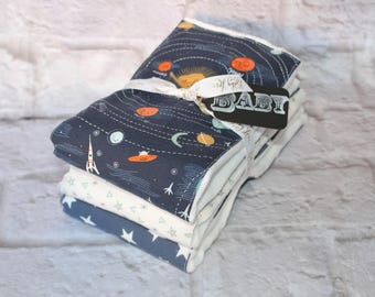 Modern Baby Burp Cloth~ Set of 3~Planets and Stars~ Baby Shower Gift
