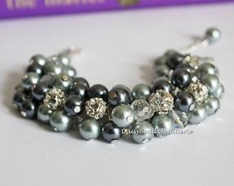 Grey Bracelet Cluster Bracelet Bridesmaids Bracelet Chunky Bracelet Bridesmaids Gift for Her Wedding Jewelry Gift Idea Maid of Honor Jewelry