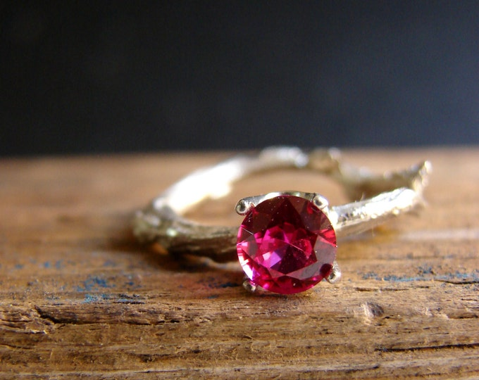 Ruby Gemstone Branch Jewelry  Twig Ring Engagement Ring Sterling Silver Botanical Ring Hot Pink July Birthstone