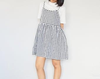 Gingham strappy cami smock dress, Loose babydoll dress, Sun dress, Plaid dress