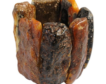 Unique and rare Raw Baltic amber bracelet, entirely handmade by our Craftsmen
