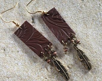 Leather Southwestern Earrings, Dangle Earrings, Southwest Jewelry, Jewelry For Her, Gift Ideas