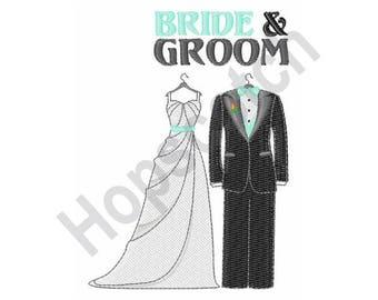 Bride & Groom - Machine Embroidery Design - 5 X 7 Hoop, Wedding, Ceremony, Newlyweds