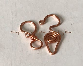 Freeform Copper Wirework Swirl Clasps