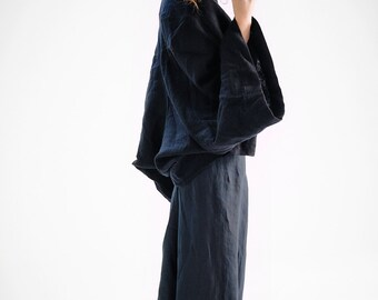 Black Kimono Blazer / Extravagant Black Blazer/  Loose Light Overcoat/ Black Oversized Coat / Oversized Kimono Jacket by AryaSense/ KMNT16BL
