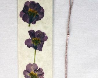 English primrose pressed flower bookmark