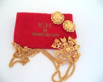 Signed KJL Kenneth J Lane Gold Plate Crystal Rhinestone Chain Necklace Pendant Earrings Original Red Bag