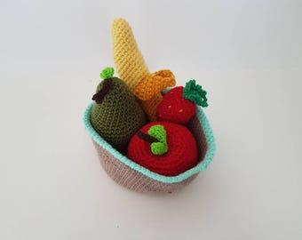 Crochet Fruit, Fruit Bowl, Handmade Fruit, Amigurumi Fruit, Crochet Apple, Banana, Strawberry, Pear in Basket - MADE TO ORDER