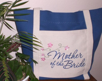 Embroidered Mother of the Bride Tote-Your Choice of Colors, Free Shipping
