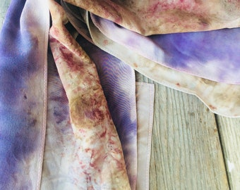"""Herb-Dyed Ecoprint Silk Scarf- """"Purple Orchid"""""""