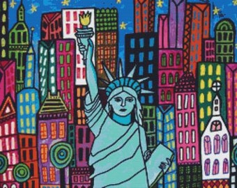 Modern Cross Stitch Kit 'Statue Of Liberty' By Heather Galler