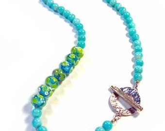 Amazonite and Handmade Lampwork Necklace