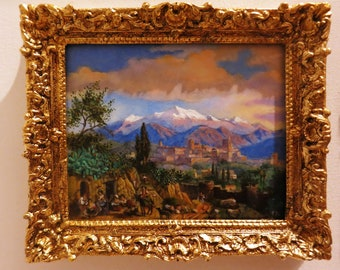 Oil painting Between Mountains after Edmund Wodick 1886