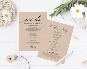 Printable Wedding Program, Wedding Program Template, Rustic Wedding, Ceremony Printable Template, Editable PDF Instant Download #E016