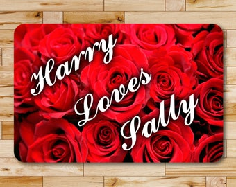 "Personalized Red Rose Valentine Declaration of Love Aluminum Sign 8"" x 12"""