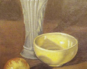 Green and Yellow Original Still Life Oil Painting
