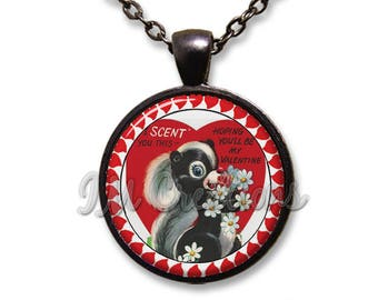 Valentine's Day Skunk Glass Dome Pendant or with Chain Link Necklace HD205