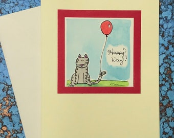 """Gray Striped Cat with Red Balloon~ """"Happy Day!"""""""
