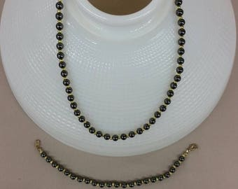 Black bead necklace and bracelet set