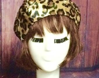 Velvet Leopard Beret Hat, French Beret Hat Animal Print, Pin Up Girl Hat