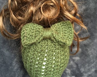 Handmade Messy Bun Hat with Bow