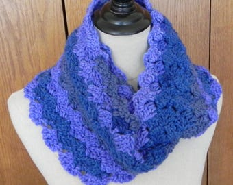 Crochet infinity scarf in stripes of lavender, slate blue, and gray is ready to ship, crochet cowl # 562