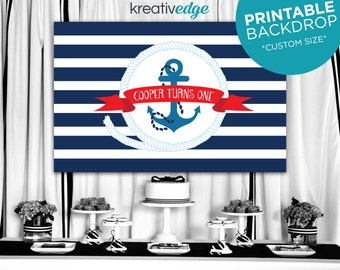 Nautical Backdrop Banner Design **Custom Size** Boys Birthday Party, Baby Shower, Printable File, Nautical Sailor Anchor Navy Stripes Design