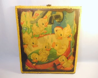 """Vintage DUCKLING DUCK Print - Wall Hanging - Decoupage on Wood - Burnt Burned Edges - Absolutely DARLING & Fun - Home Decor - 9.5"""" x 11"""""""
