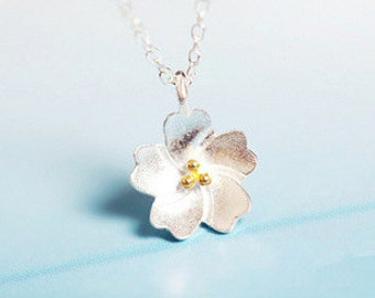 HOLIDAY SALE 40% OFF ***    Cherry Flower Necklace – 925 Sterling Silver – Silver Color