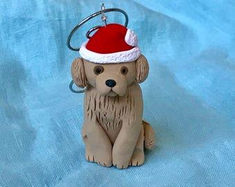 Tierfreund Weihnachten, Sankt-Hut, Hund Urlaub Dekor, Hund Liebhaber Urlaub, Golden Retriever Geschenk, Weihnachtsschmuck, Fimo