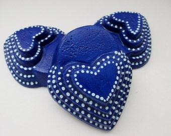 Blue with light blue polk-a-dot heart shaped planter feet,  patio decor, Yard art