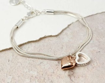 Charming Rose Gold Plated and Crystal Hearts Fashion Bracelet