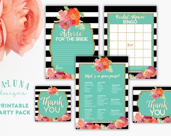 Printable Bridal Shower Games,  Bridal Shower Bingo Card, Advice For the Bride Card, Whats in your purse game, Favor Tag, Thank You Card