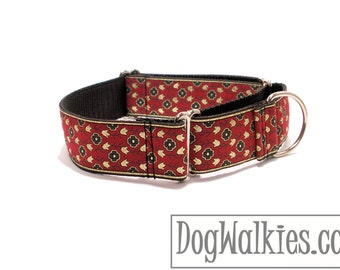 """Magic Carpet Ride Wide Dog Collar - 1.5"""" (38mm) Wide - Wide Martingale or Plastic Quick Release - Choice of collar style and size"""