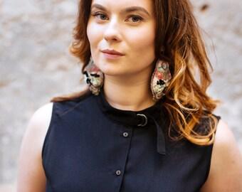 Unique earrings / Beaded earrings wedding jewelry / Luxury earrings artisan / Art Earrings Long / Couture Jewellery by DianaDeluxe