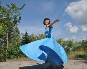 Blue whirling skirt