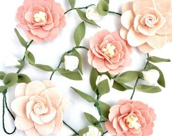 Felt Flower Nursery Decor Garland | Pink, Blush, White | Felt Flower Garland | Nursery Decor